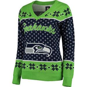Seattle Seahawks Women's Navy Big Logo V-Neck UGLY Christmas Sweater NEW