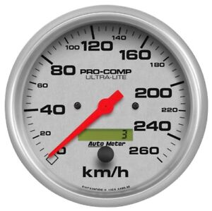 "Auto Meter 4489-M 5"" Ultra-Lite In-Dash Electric Speedometer Gauge 0-260 KPH NEW"