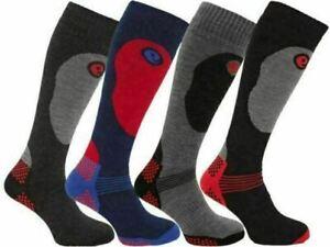4 Pairs Mens Soft Thermal Padded Long Hose Winter Ski Socks Snowboarding Hiking