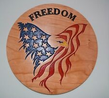 Eagle American Flag Cherry Wood Sign American Made Home Made