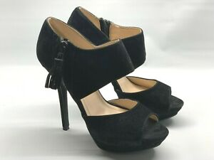 """Anne Michelle Women's Size 5.5 M Black Suede 4.5"""" Platform Heels Sandals Shoes"""