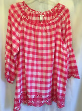 Intro Womens top babydoll blouse top fuchsia US Large 242417