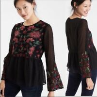 American Eagle Women's Floral Embroidered Peplum Top Bell Sleeve, Size XS