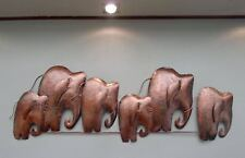 Unusual 3D Abstract Copper Elephant Wall Art Hand Made Metal Elephant Herd 1 Mtr