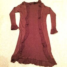 Bette Sung Long Ruffled Brown Copper Flecked Long Sleeve Open Front Large Tunic