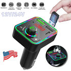 Bluetooth Car Wireless FM Transmitter Adapter USB PD Fast Charger AUX Hands-Free