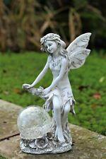 Garden Solar Ornament Ball Cherub Fairy Angel Figurine Statue 33cm Tall BOXED