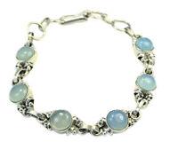 Bracelet argent 925 calcédoine bleue cabochons naturels 180-170x8x8mm