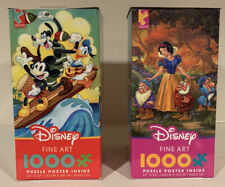 CEACO Disney Fine Art Mickey Mouse And Snow White 1000 Piece Puzzles - Lot of 2