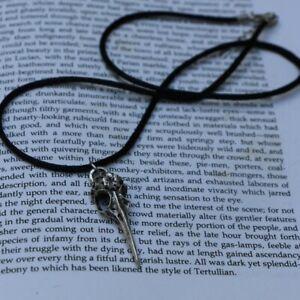 10pcs Necklace Black Death Goth Gothic Raven Charm Silver Crow Necklace Leather