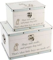 Bambino Luggage Storage Set of 2 Boxes Little Boys Toy Keepsake Box BN