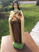 Vintage Chalkware Religious Statue  St. Theresa The Little Flower  20 1/2 ""