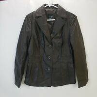 East 5th Genuine Leather Jacket Button Front Womens Brown Coat Size Medium Biker