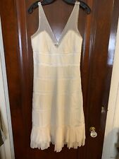 $300+ BCBG MAX AZRIA Off White Sheer Silk Chiffon A-Line Tiered Dress Size 6