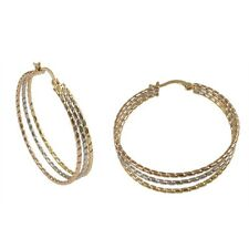 Gold Tone Rose Gold Tone Silver Tone Tri Color Coil Hoop Earrings