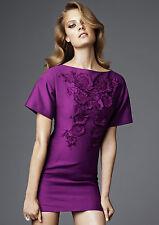 H&M CONSCIOUS EXCLUSIVE PURPLE FLORAL APPLIQUE MINI DRESS UK 10 EUR 36 US 6 BNWT