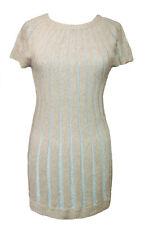 %Lavand Caramel Kleid silber Streifen beige S o. L (entspr. Gr.34-38)