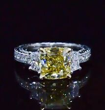 1.68 Ct Cushion Cut Canary Fancy Yellow Diamond Vintage Engagement Ring SI1 GIA
