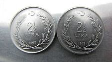Turkey 2 1/2 Lira 1960 & 1962 UNC. pair. Scarce grade !