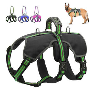 Large Dog Harness Escape-Proof Reflective Dog Vest with Lift Handle for Working