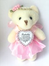 Flower Girl Teddy Bear 12cm With Pink Bouquet Charm Heart Something Old Gift