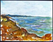 Day at the Rincon Seaside  C Peterson 2013 original watercolor painting Seascape