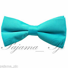 Turquoise Blue Men's Solid Pre-tied Bow tie Straight Cut Bowtie Wedding Prom 10E