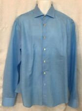 Kiton Shirt Sky Blue Cotton And Linen Button Down 17 1/2×44