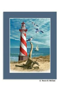 Lighthouse Lenticular 3D Matted Picture Poster Print Wall Art Home Decor