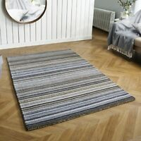 CARTER GREY LUXURY STRIPED WOOL RUG IN VARIOUS SIZES AND RUNNER