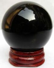 NATURAL BLACK OBSIDIAN Crystal 40mm Sphere +Wood Base SAGITTARIUS Gem USA SELLER