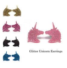 Unicorn Earrings 15mm Glitter Acrylic with Nickel Free Surgical Steel Studs