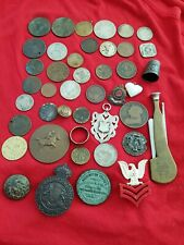 Metal Detector Finds Silver Thimble medal Coins + Tokens Buttons R/gold ring etc