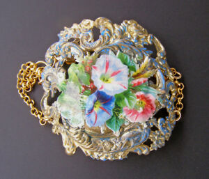 Bold Statement Bracelet Victorian Morning Glory Flower Floral Brass Jewelry