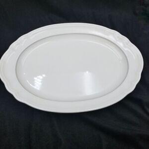 "Vintage Pfaltzgraff Cream Platter Dish Plate Blue Ring Trim 14.75"" USA"