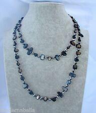Naturale perle Collana Filo lungo madreperla,cristallo da donna, nero argento