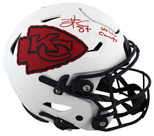 Chiefs Travis Kelce SB LIV Champs Signed Lunar Speed Flex Full Size Helmet BAS W