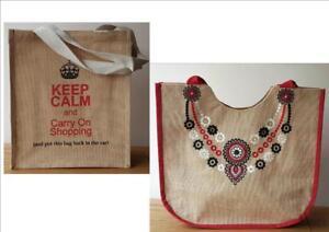 POSH JUTE SHOPPING BAGS Keep Calm Logo Posh Embroidered Roomy Durable Re-usable