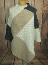 Coco + Carmen Cream Gray Colorblock Cable Knit Sweater Poncho One Size