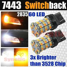 2x 7443 Dual Color Switchback White Yellow Bright 60-LED Turn Signal Light Bulbs
