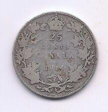 1914 Canada Silver Twenty-five Cent--Honest Wear !!