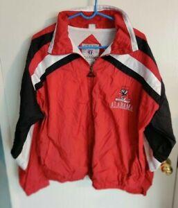 VTG 90s Alabama Crimson Tide Genuine Stuff Men's Red Zip Windbreaker Jacket L
