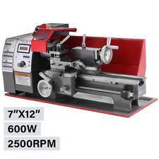 600w Mini Metal Lathe Speed Adjustable Wood Drilling Machine Benchtop 7x12