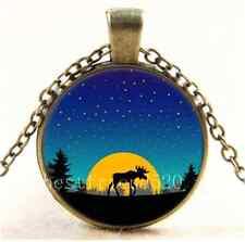 Vintage Moose moon trees Photo Cabochon Glass Bronze Chain Pendant Necklace