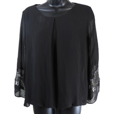 I.N. San Francisco Black Silver & Gold Lace 3/4 Bell Sleeve Blouse Junior's M