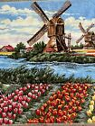 """Vintage Wall Fringe Tapestry Ladies At Windmill Tulip Fields Of Holland 44"""" X 27"""
