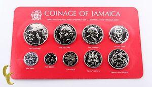 1980 Coinage of Jamaica Brilliant Uncirculated (BU) Specimen Set 9 pcs