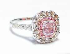 1.65 CT Fancy Pink Diamond Engagement Ring GIA Cushion Hallo 18K White Gold SI1