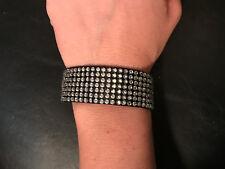 NEW ANTHROPOLOGIE black rhinestone rock glam studded cuff bangle bracelet-$58