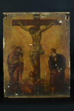 Tableau religieux 16ème école Italienne Crucifixion Saint Jean Marie Madeleine